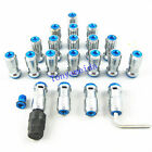 BLUE M12x1.25 STEEL JDM EXTENDED DUST CAP LUG NUTS WHEEL RIMS TUNER WITH LOCK