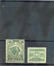 ERITREA Sc 59,J18(MI 58,D16)F-VF USED 1922 5c/2B, 1934 25c POST DUE $33