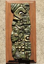AZTEC MAYA HANGING WALL ART PLAQUE CRUSHED JADE GREEN MALACHITE STONE ZAREBSKI