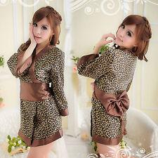 Women Sexy Bow Leopard Sleepwear Chemise Kimono Sleep Nighty Gown Bath Robe Coat