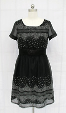 Clearance Sale, Black & White Paisley Print Chiffon Cocktail Dress Size M