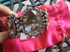 Betsey Johnson Vintage HUGE Crystal Jewel Rhinestone Cuff Hinged Bracelet RARE