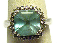 STERLING SILVER AQUAMARINE GENUINE DIAMOND RING BAND SIZE 6   3.7 GRAMS