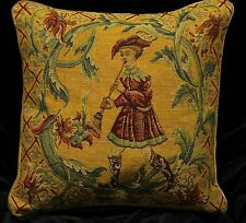 DECORATIVE PILLOW COVER Medieval Tapestry Throw Cushion BOY & FLUTE Sofa Scatter