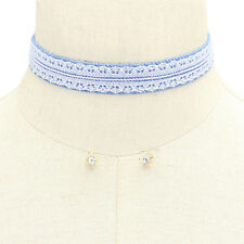 Denim and Lace Choker Set with Clear Crystal Stud Earrings