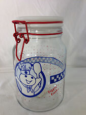 "PILLSBURY DOUGHBOY POPPIN FRESH GLASS CANISTER, COOKIE JAR 7.75"" Tall"
