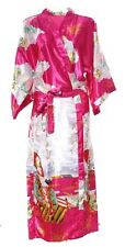(810406)Pink Ladies Long Silk Satin Feel Kimono Robe Dressing Gown 12-18 UK