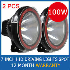 PAIR 7 INCH 100W HID DRIVING EURO/SPOT LIGHTS OFF ROAD 4X4 12V ONLY POWERFUL