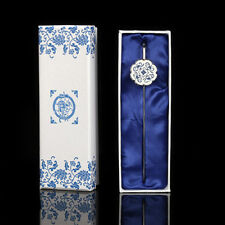 1PCS Chinese Folk Style Blue And White Porcelain Bookmark Metal Bookmarks
