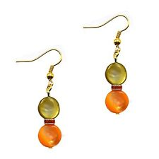 Dangle Fashion Coin Pearl Shell Earrings Gold Green Orange Grace Of New York