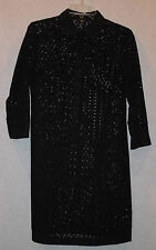 VINTAGE TALBOTS LADIES BLACK COTTON CUTWORK LACE LONG SLEEVE DRESS SIZE 8 PETITE