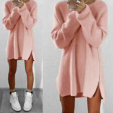 Women Long Sleeve Jumper Top Knitted Sweater Loose Tunic Warm Mini Dress UK 6-16