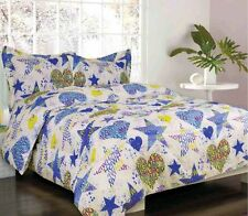 5-pc. Full Sydney Lime Green, Blue,  Purple Hearts and Stars Print Bed in a Bag