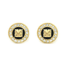3D Pyramid Earrings 10mm Gold Tone with Black Medallion Shaped