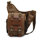 Vintage Canvas Shoulder Military Leather Patchwork Shoulder Messenge Bag