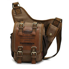 Men's Shoulder Messenge Vintage Canvas Shoulder Military Leather Patchwork Bag
