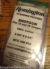 "REMINGTON GUN CLEANING PATCHES SHOTGUN 2 3/4 X 2 3/4"" 12 THRU 20 ga 100ct COTTON"