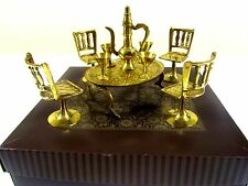 Vintage Brass Table and Chairs Goblets & Pitcher Doll House Furniture in Box