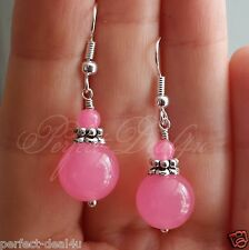 925 Sterling Silver hook Candy Pink Jade Dangle round Pretty Earrings