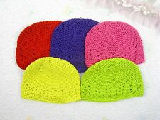 Lot 5 Crochet Kufi Hat Cap Beanie Baby Toddler Girl-S