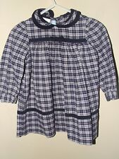 Monday's Child 6M Navy Blue Plaid Dress Long Sleeve Fall Winter Bow Boutique
