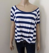 NWT Abercrombie Womens Top Shirt Size Small Striped Tee Blouse Navy Blue & White