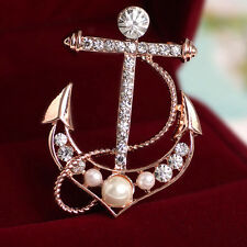 Beautiful Women Anchor Shape Brooch Faux Pearl Diamond Dress Pin HCXM