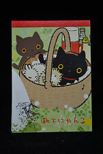 San-X Kutusita Nyanko Cat 5 Designs 100 Sheets Memo Pad with Stickers