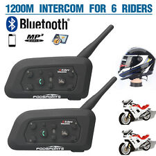2x BT Bluetooth Motorcycle Helmet Intercom Interphone Bike Headset 1200M 6Riders