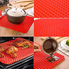 Hot Pyramid Pan Non Stick Fat Reducing Silicone Cooking Mat Baking Tray Sheets B