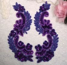 0180 ~ PURPLE MIRROR PAIR SEQUIN BEADED APPLIQUES 8.25""