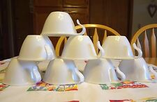 8 VTG Corelle WINTER FROST WHITE HOOK CUPS Corning DISHES Dinnerware TEA COFFEE