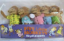 Merry Makers Five Little Monkeys Finger Hand Puppet Playset, 5-Inch , New, Free