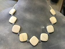 Natural Beige Tan River Stone Handmade beaded Necklace w/ Clear Crystal Spacers