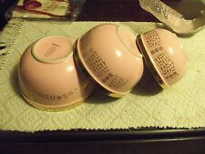 3 Vintage Pink Hall Superior Quality China KitchenWare Nesting Mixing Bowls/Gold