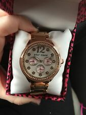 New Betsey Johnson BJ00474-03 Lady's Blush Rose Golf MOP Dial Day Date Watch