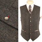 Mens Wool Blend DONEGAL TWEED 1857 Waistcoat in Grey NEW Size M - XXL Vest Vtg