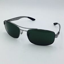 Ray Ban RB8316 004/N5 Silver Rectangular Sunglasses w/ Gray Polarized lenses