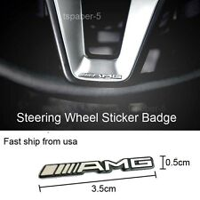 1PCS Silver AMG Steering Wheel  Badge Emblem Speaker Sticker