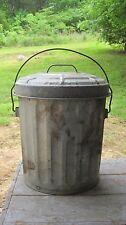 VINTAGE GALVANIZED ALUMINUM TRASH CAN PRIMITIVE HOME & GARDEN PLANTER BASKET POT