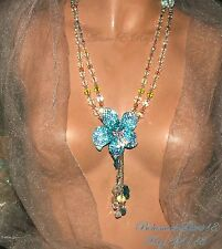 ARTURO E.REYNA GORGEOUS  VINTAGE MULTI COLOR CRYSTALS RHINESTONE FLOWER NECKLACE