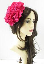 Large Hot Pink Rose Flower Fascinator Headpiece Races Floral Hat Rockabilly 18