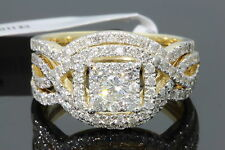 10K YELLOW GOLD 1.43 CARAT WOMENS REAL DIAMOND ENGAGEMENT RING WEDDING BANDS SET