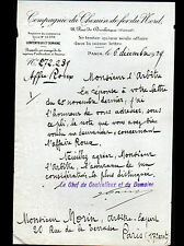 """PARIS (X°) Cie du CHEMIN DE FER DU NORD """"Service CONTENTIEUX & DOMAINE"""" en 1929"""
