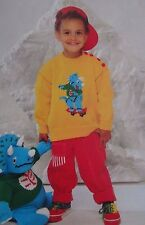 "DINOSAUR~TRICERATOPS TOY 20""HEIGHT/SWEATER  SIZE 1-7YRS KNITTING PATTERN ~ (55E)"