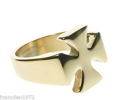 Mens Templar Iron Cross Ring Smooth 18K Gold Overlay Size 13