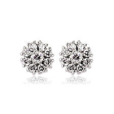 GORGEOUS 18K WHITE GOLD PLATED GENUINE CLEAR  SWAROVSKI CRYSTAL  STUD EARRINGS
