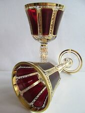 """8""""tall Pair BOHEMIAN DOUBLE-LAYER RUBY RED PANELED CUT GLASS STEMWARE GOBLET NEW"""