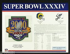 SUPER BOWL 34  RAMS / TITANS Willabee Ward OFFICIAL NFL SB XXXIV PATCH STAT CARD