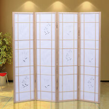 4 Panel Flowered Room Divider Screen Style Shoji Solid Wood Natrual New